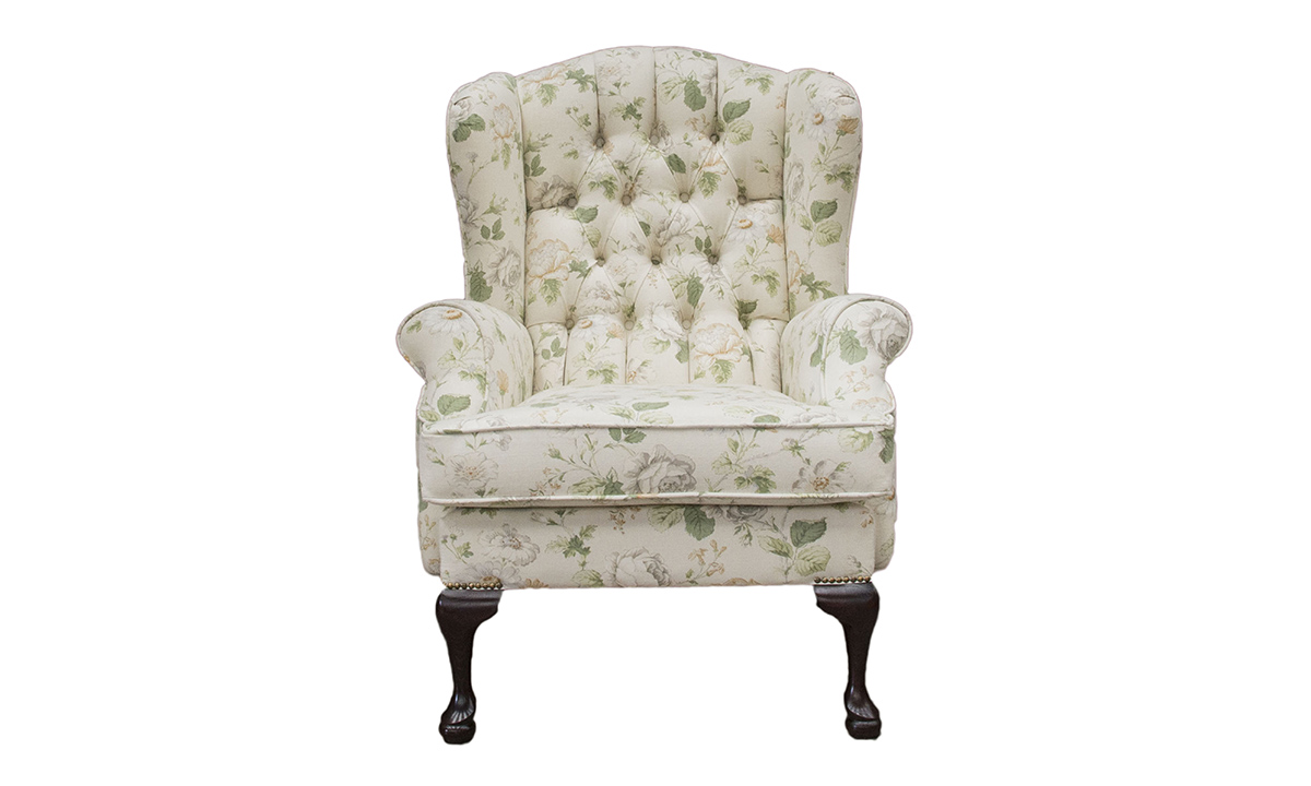 Queen Anne Chair with a Deep Button Back  in Chantilly Daisy