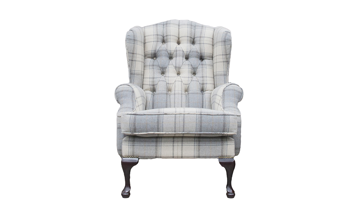 Queen Anne Chair with a Deep Button Back in Warwick Bainbridge Grey