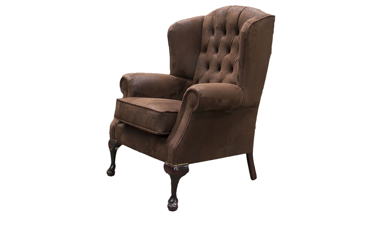 Queen Anne Chair with a Deep Button Back in Customers Own Fabric