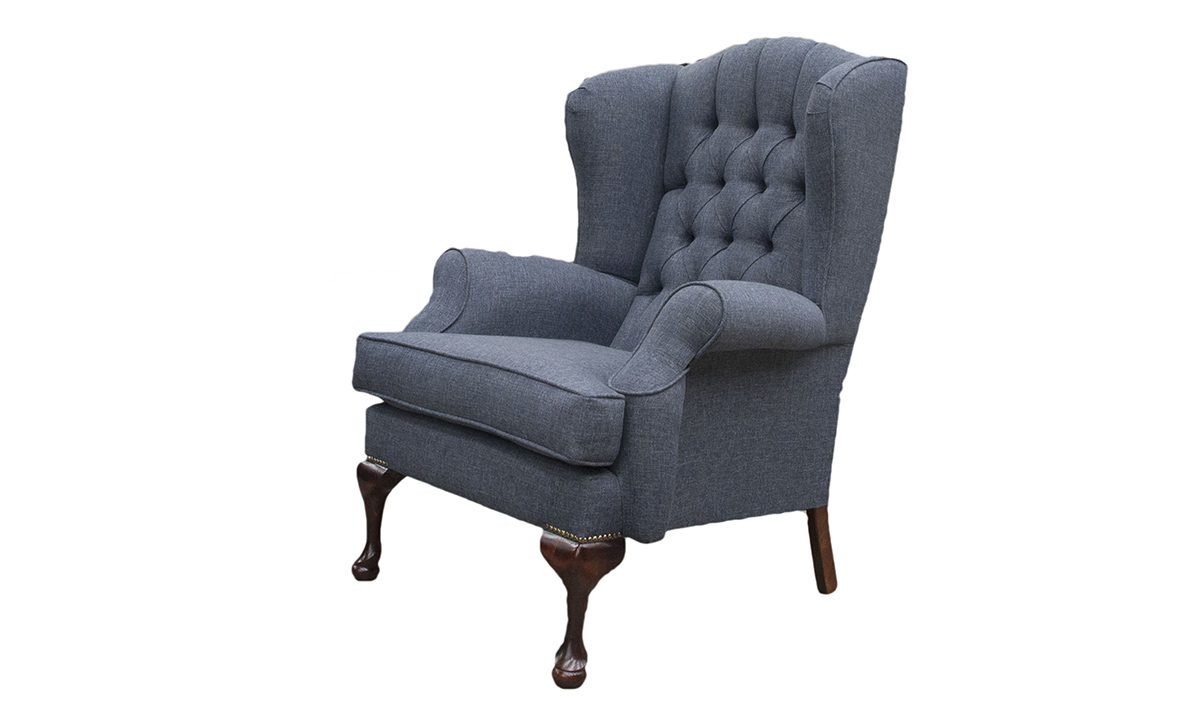 Queen Anne Chair with a Deep Button Back  in Ado Marine, Bronze Collection Fabric