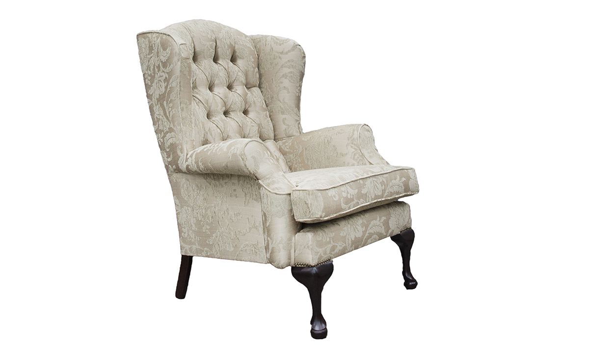 Queen Anne Chair with a Deep Button Back in Burton Champagne Pattern, Silver Collection Fabric