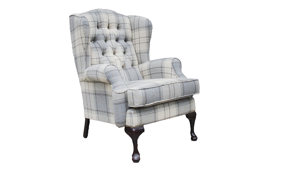 Queen Anne Chair with a Deep Button Back in Warwick Bainbridge Grey Platinum Collection