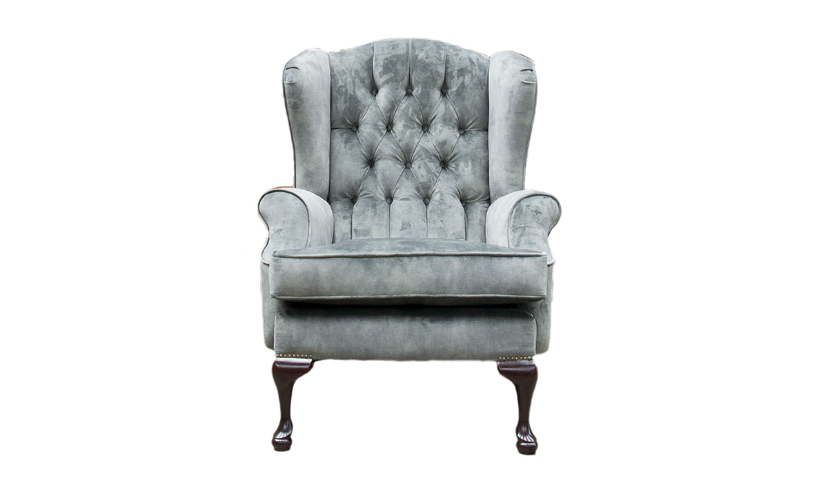 Queen Anne Chair with a Deep Button Back in Lovely Jade, Gold Collection Fabric
