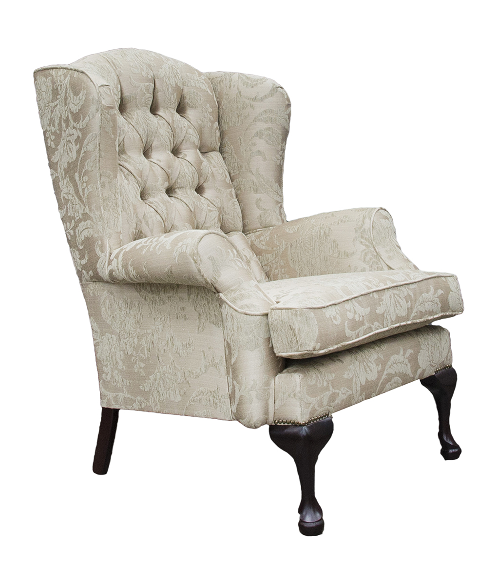 Queen Anne Chair Side Deep Button Back Burton Champagne Pattern Silver Collection