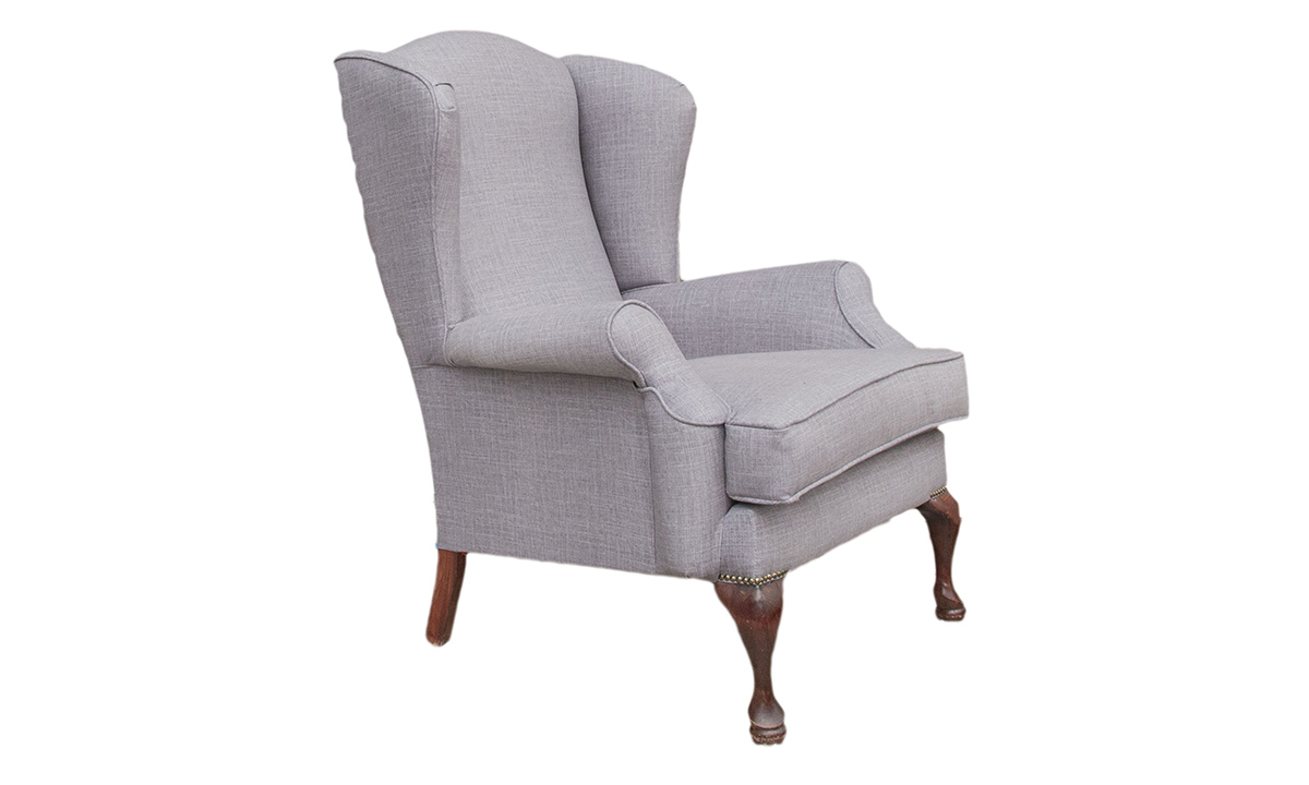 Queen Anne Chair in Havana Steel, Silver Collection Fabric