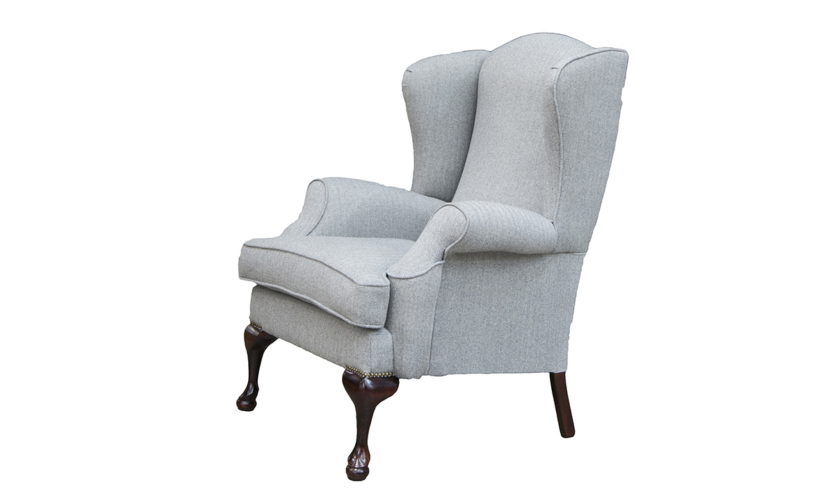 Queen Anne Chair Side in Foxford, Platinum Collection Fabric Fabric