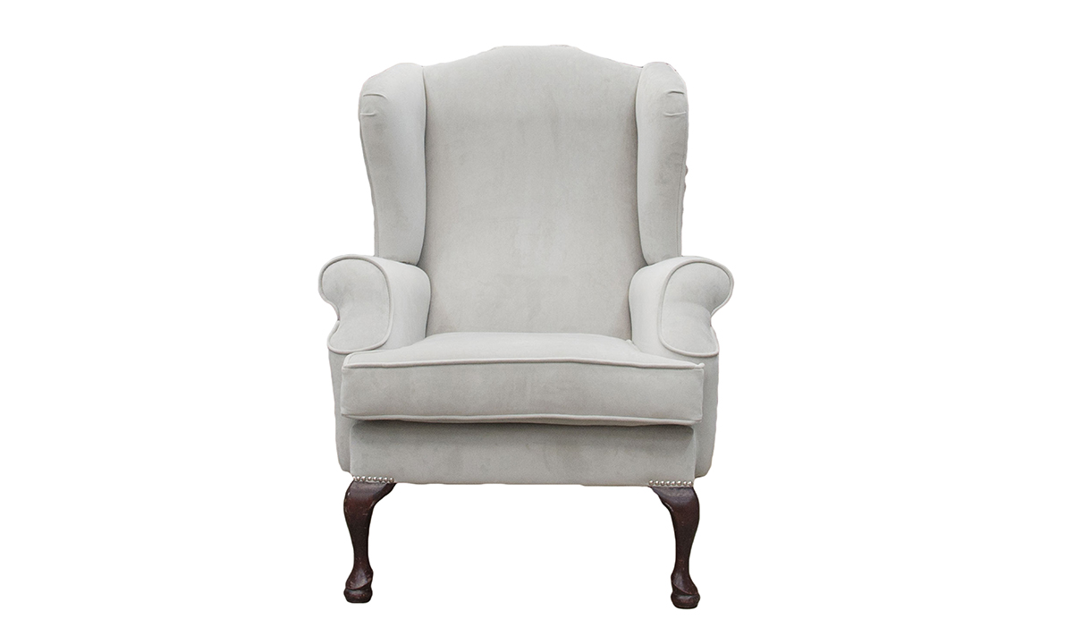 Queen Anne Chair in Aosta Grey , Silver Collection Fabric