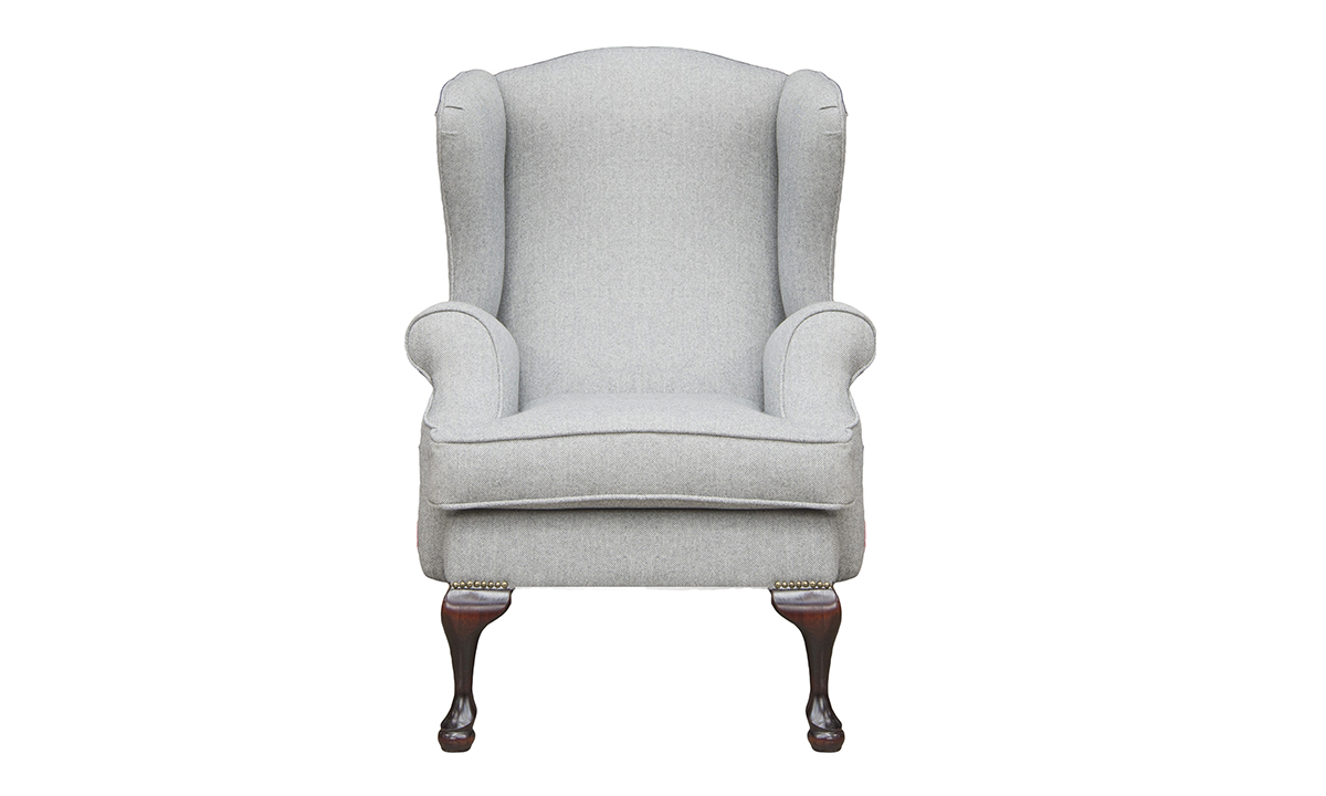 Queen Anne Chair in Foxford, Platinum Collection Fabric Fabric