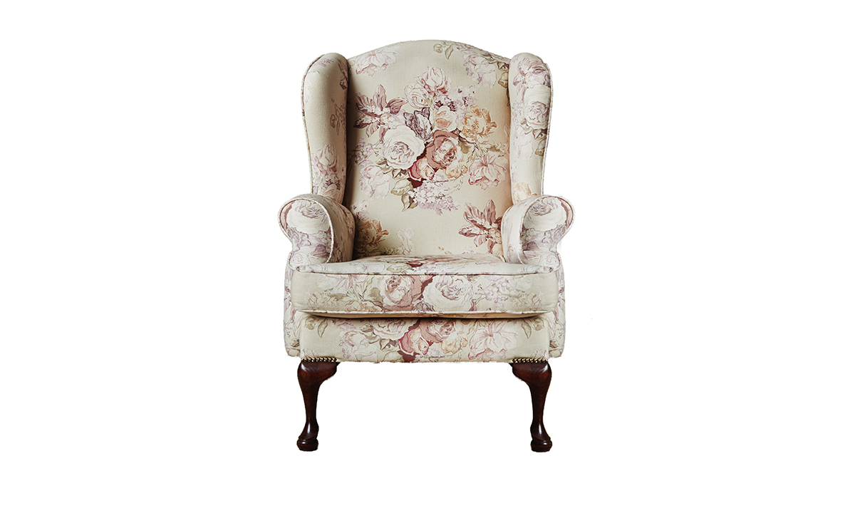 Queen Anne Chair in Monance Plum Platinum Collection Fabric