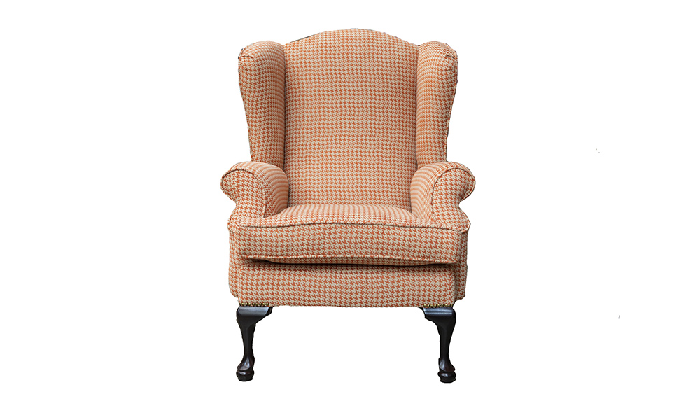 Queen-Anne-Chair-in-Poppy-Oramge-Silver-Collection-of-Fabrics