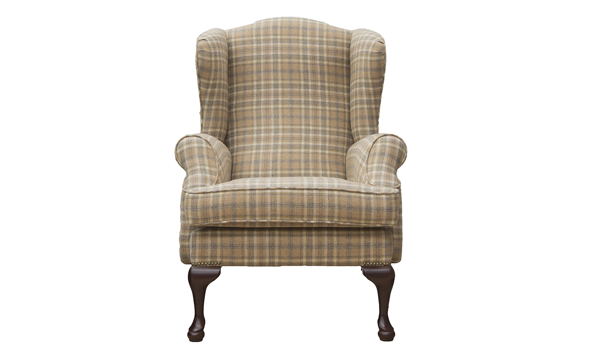 Queen Anne Chair in. a Platinum Fabric Collection