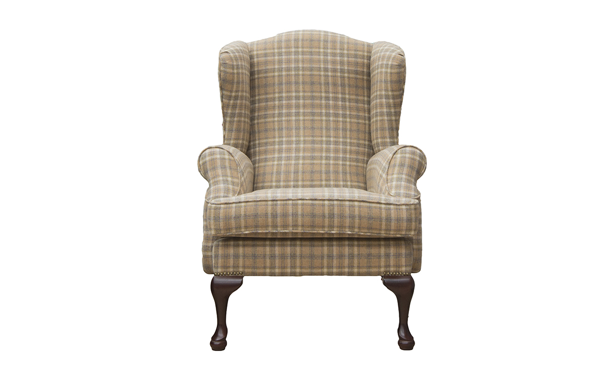 Queen Anne Chair in a Platinum Fabric Collection