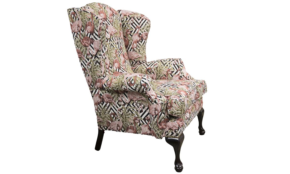 Queen-Anne-Chair-side-in-Flamingo-Brick-Gold-Collection-of-Fabrics