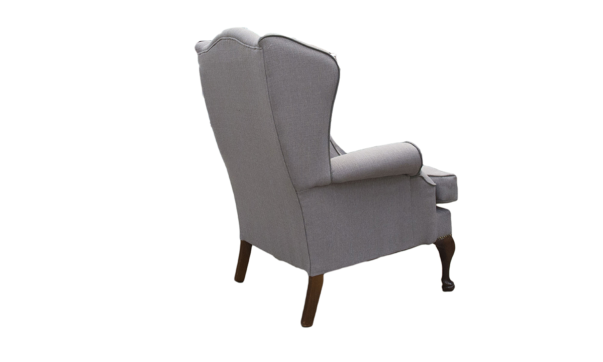 Queen Anne Chair in a  Silver Collection Fabric