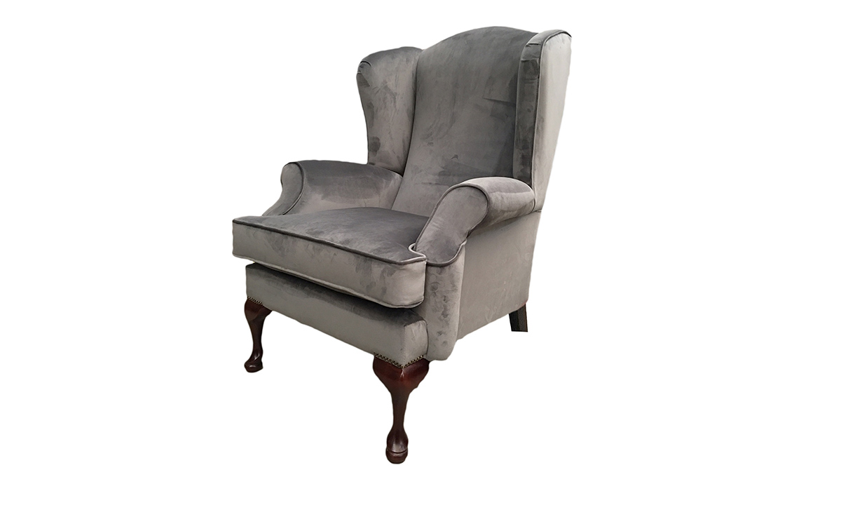 Queen Anne Chair in Luxor Dolphin , Silver Collection Fabric