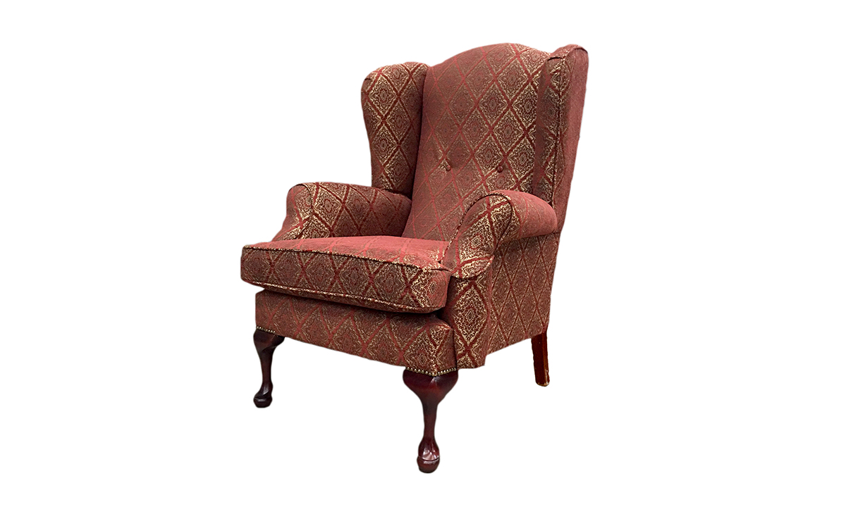 Queen Anne Chair in Nebbiolo Pattern Merlot, Platinum Collection Fabric