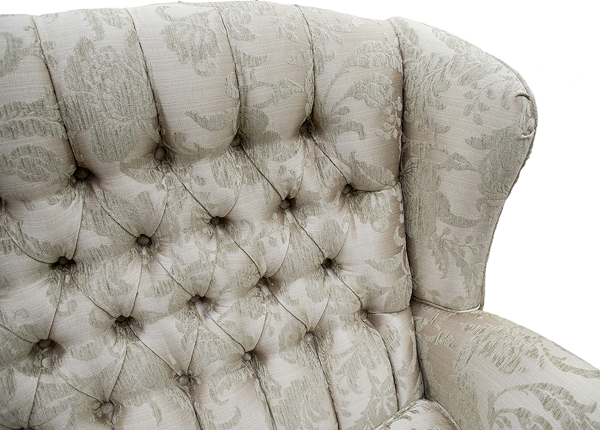 Queen Anne 3 Seater Deep Button Back Detail in Burton Champagne Pattern Silver Collection