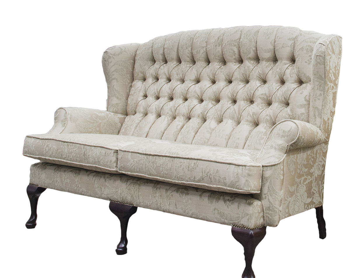 Queen Anne 3 Seater Deep Button Back Side in Burton Champagne Pattern Silver Collection