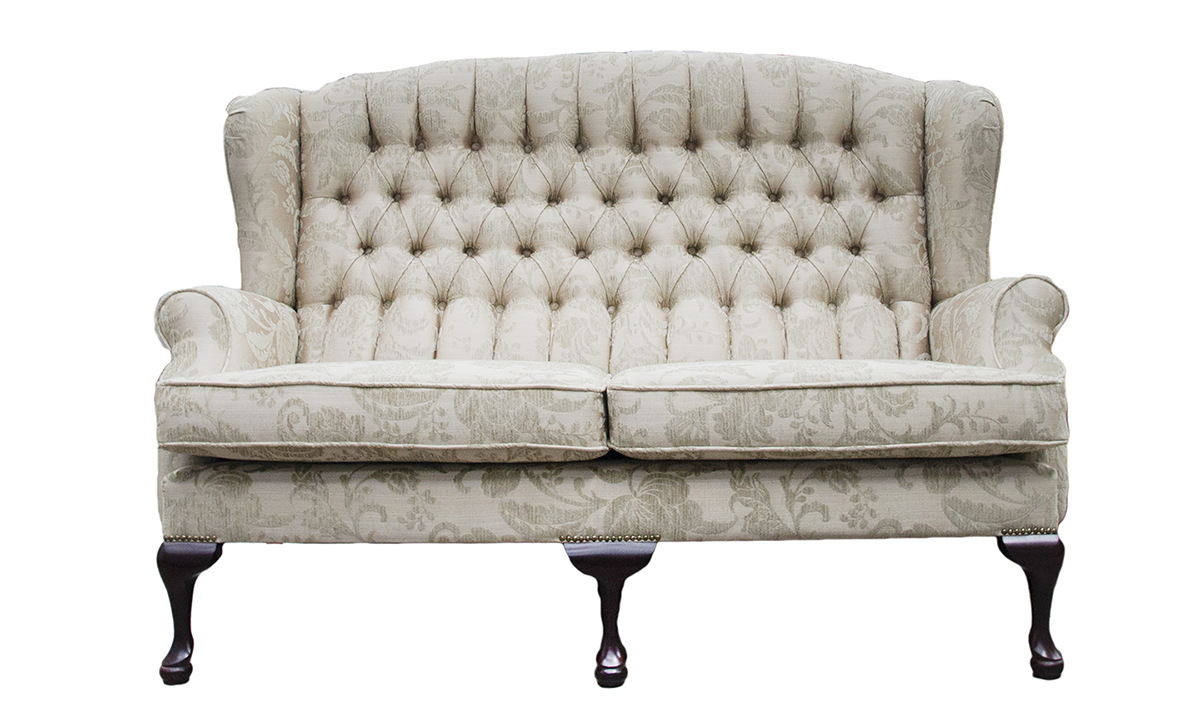 Queen Anne 3 Seater with a Deep Button Back Detail in Burton Champagne Pattern, Silver Collection Fabric