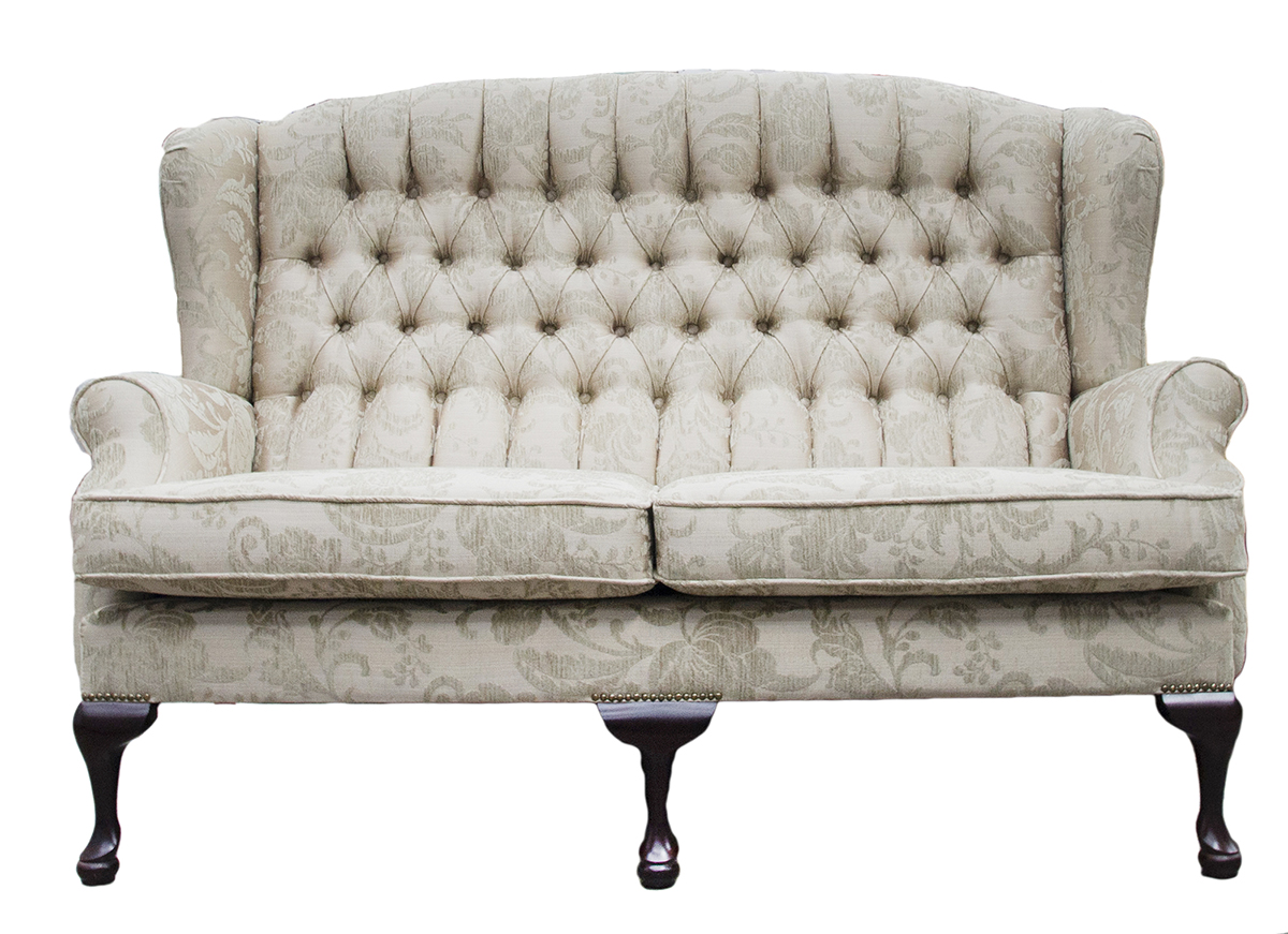 Queen Anne 3 Seater Deep Button Back in Burton Champagne Pattern Silver Collection