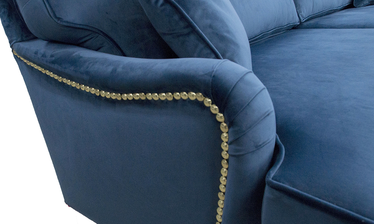 Holmes Sofa Chrome Studded Detail - Luxor Pacific - Silver Collection