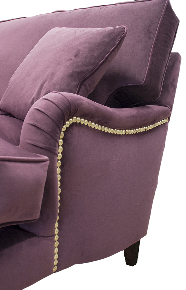 Sherlock Large Sofa with Brass Arm Studding  in  Luxor Aubergine Silver Collection Fabric