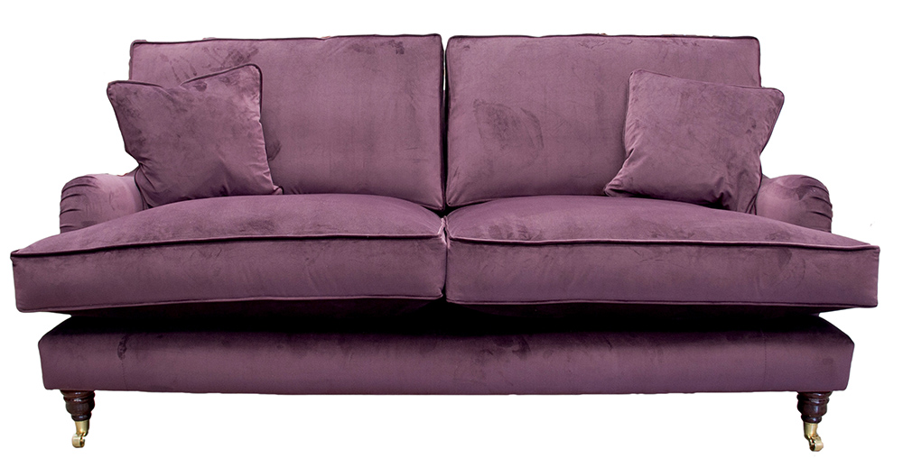 Sherlock Large Sofa in  Luxor Aubergine Silver Collection Fabric