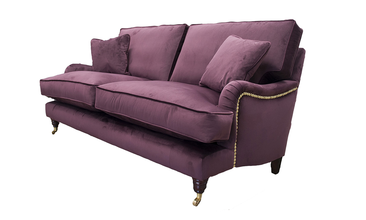 Sherlock Large Sofa in Luxor Aubergine, Silver Collection Fabric