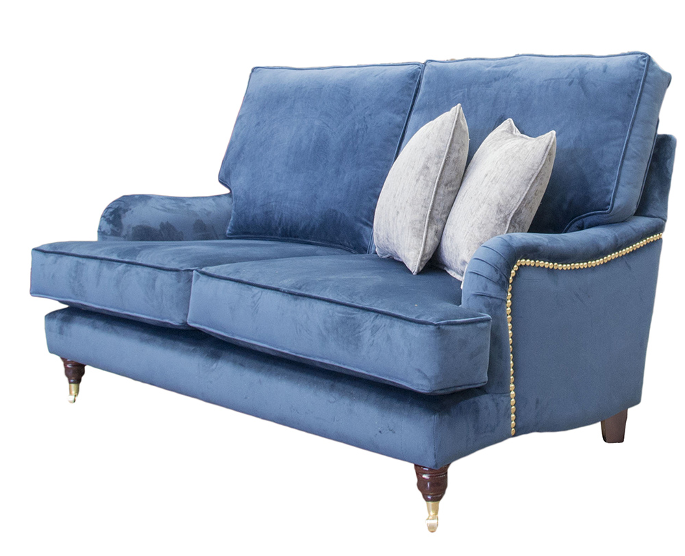 Sherlock Small Sofa with Brass Arm Studding in Luxor Pacific Silver Collection Fabric