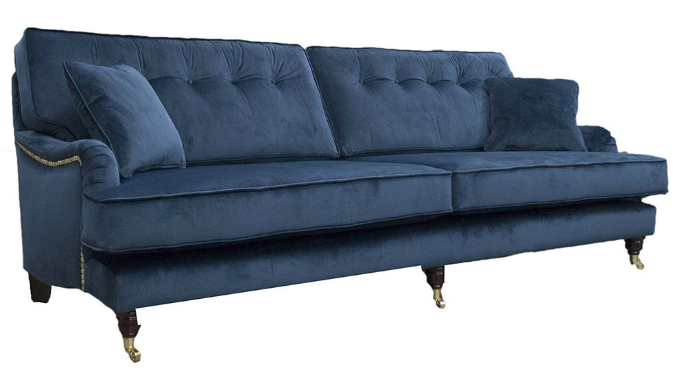 Bespoke Sherlock Sofa Finished at 250cm with Button Back in Luxor Pacific Silver Collection Fabric