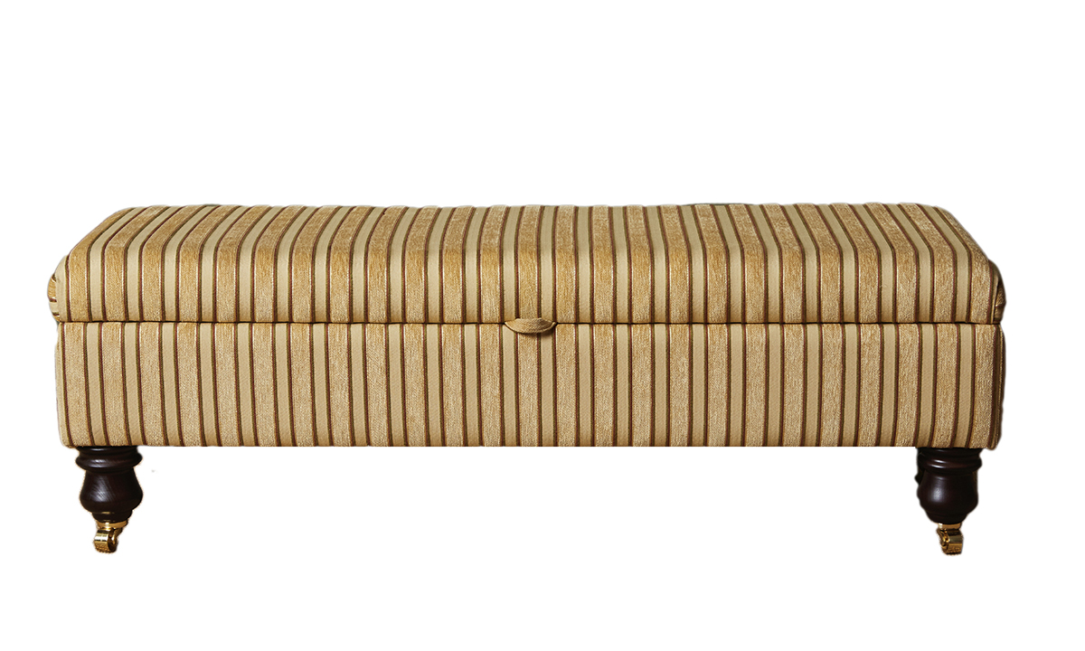 Storage Ottolong in Semi Ramis Stripe Platinum Collection Fabric
