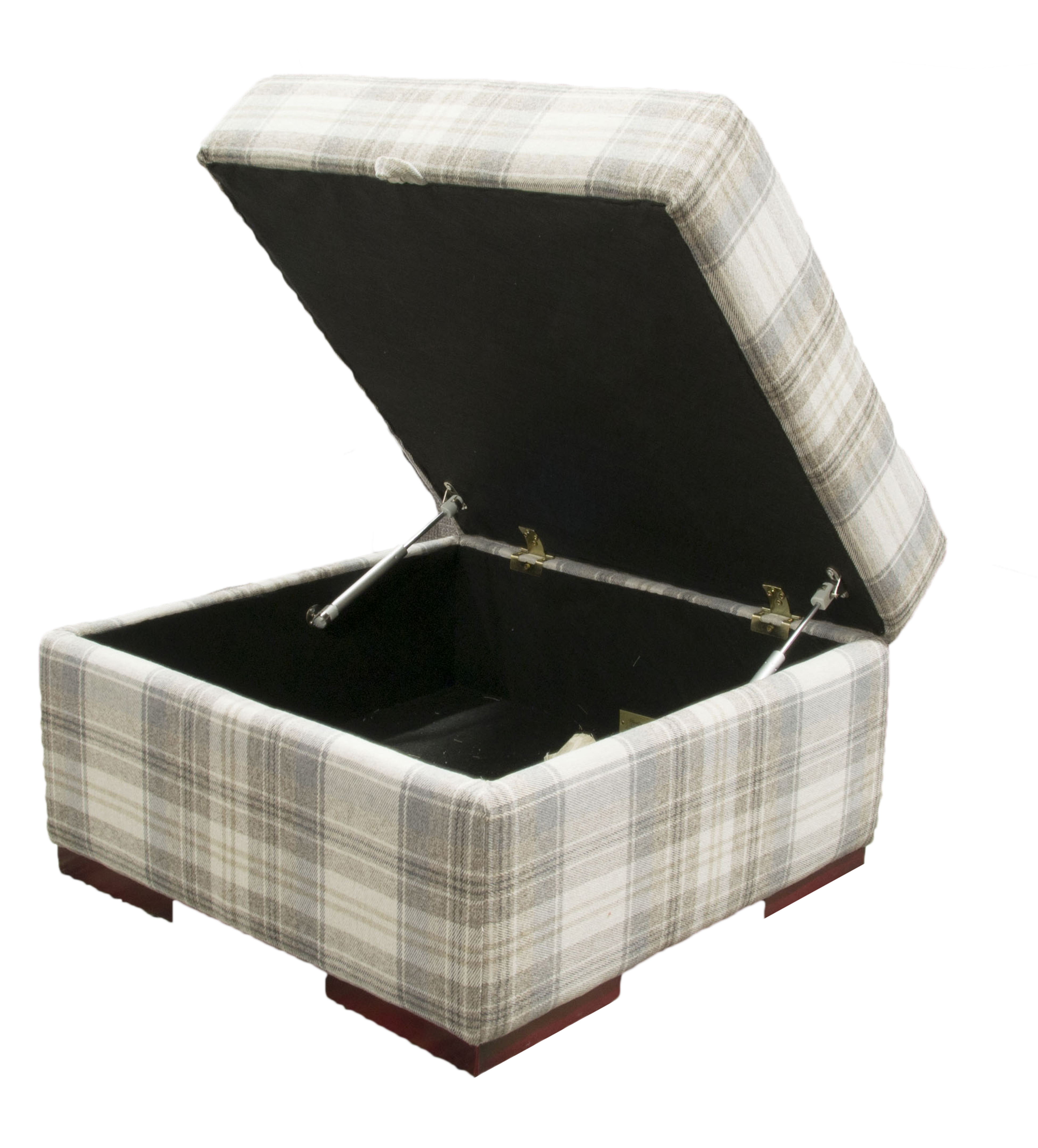Como Storage Footstool  in County Plaid Earth Platinum Plus Collection Fabric