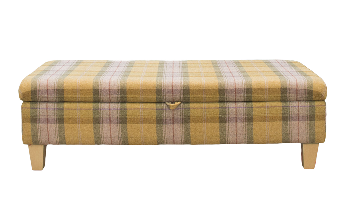 Storage Ottolong in Art of Loom Wool Plaid Autumn Gold, Platinum Plus Fabric Collection