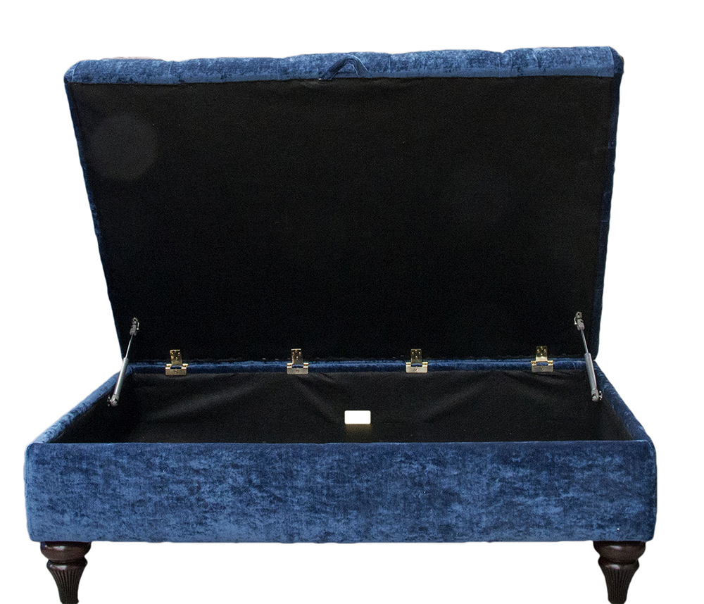 Storage Ottoman in Modena Prussian Blue 13116