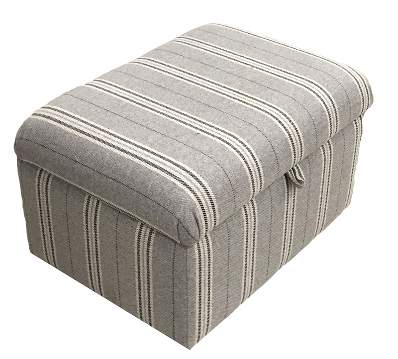 Bespoke storage footstool - Willis stripe - silver collection