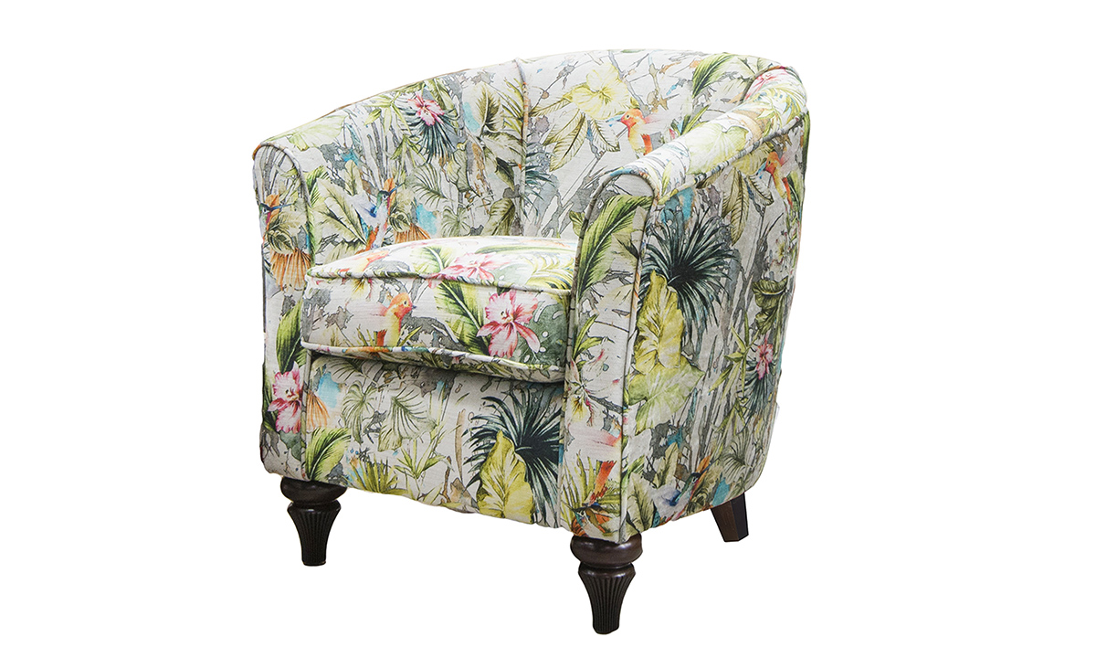 Tub Chair Bespoke in Paradise Mulit Platinum Collection Fabric