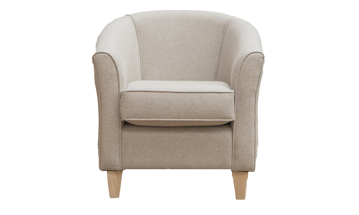 Tub Chair in Country Plain Beige Platinum Collection Fabric