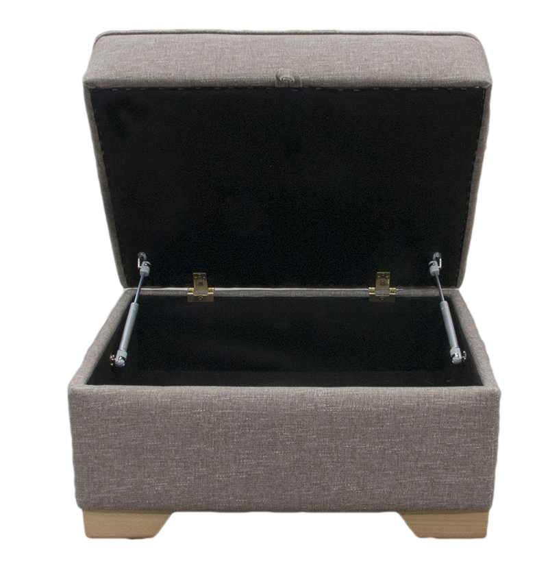 Imperial Storage Footstool  in Ado Bark Bronze Collection Fabric