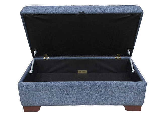 Imperial Storage Footstool in Belize Ink Bronze Collection Fabric