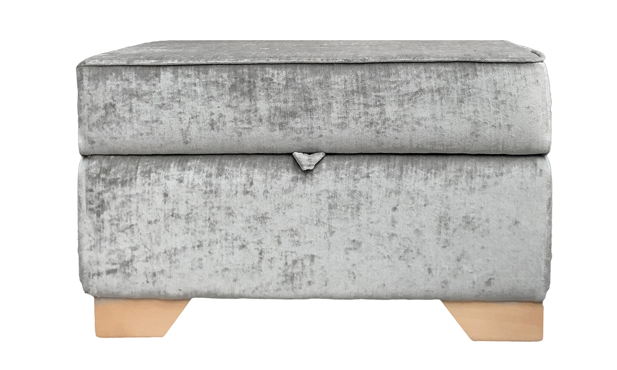 Imperial Storage Footstool in Mancini Pewter, Gold Collection Fabric