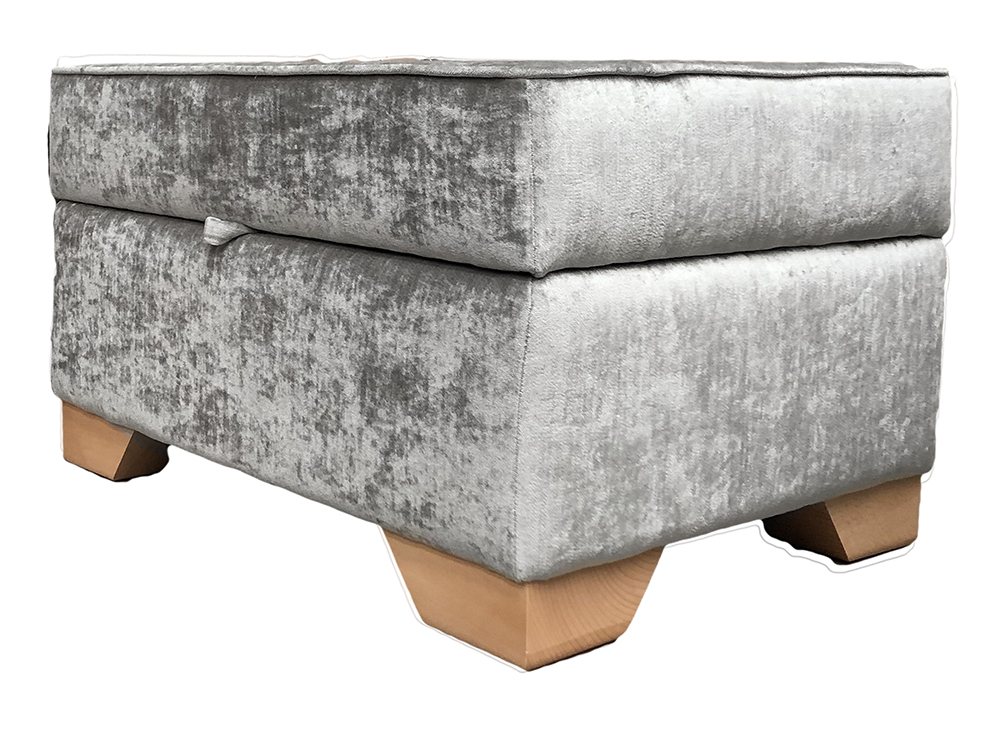 Imperial Storage Footstool in Manicini Pewter Gold Collection Fabric