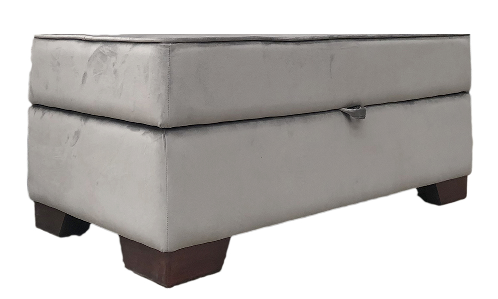 Othello Storage Footstool in Luxor Dolphin Silver Collection Fabric
