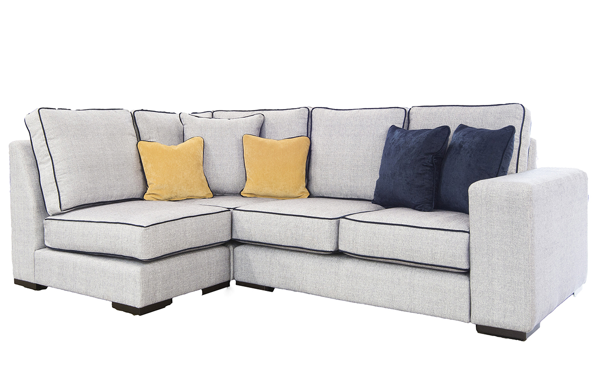 Antonio Corner Sofa in Spencer Steel, Silver Fabric Collection