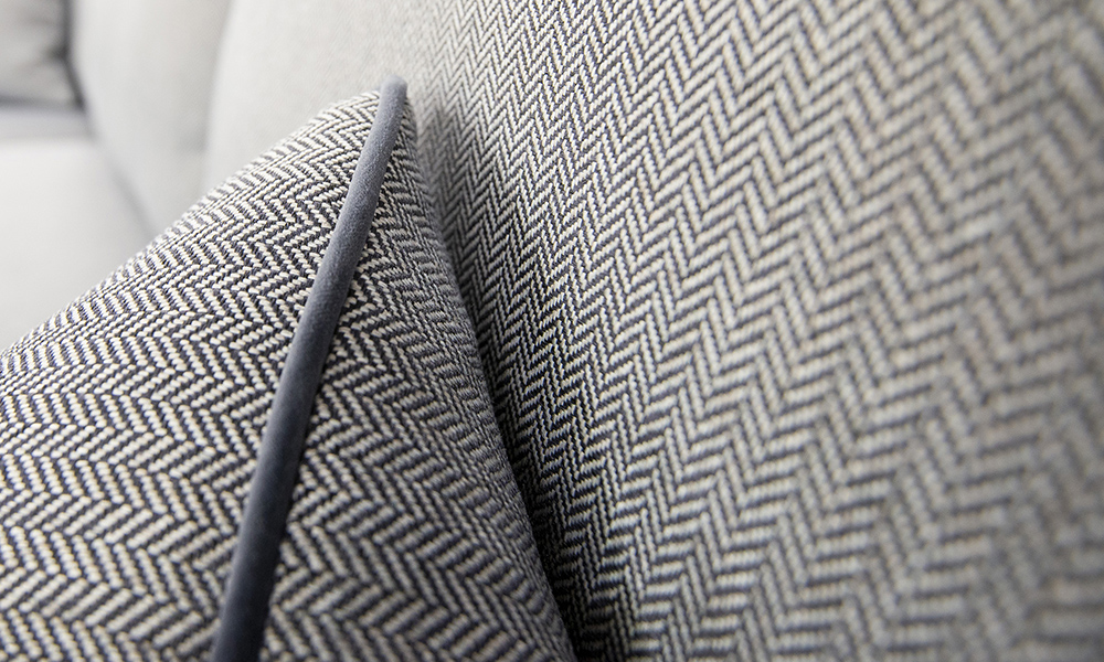 Cushion Detail in Porto Charcoal, Silver Collection Fabric