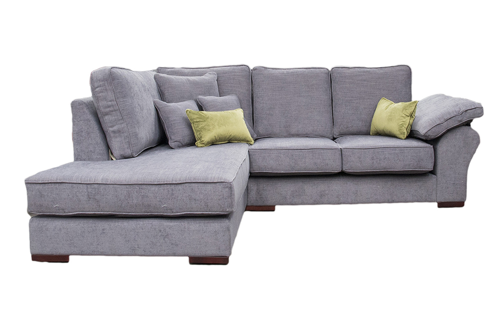 Atlas 2 Seater Corner Chaise Sofa  in J Brown Senna 12 Grey, Silver Fabric Collection