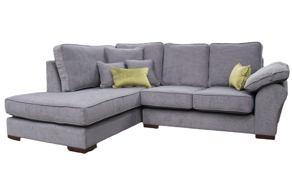 Atlas Chaise Sofa  in J Brown Senna 12 Grey, Silver Fabric Collection