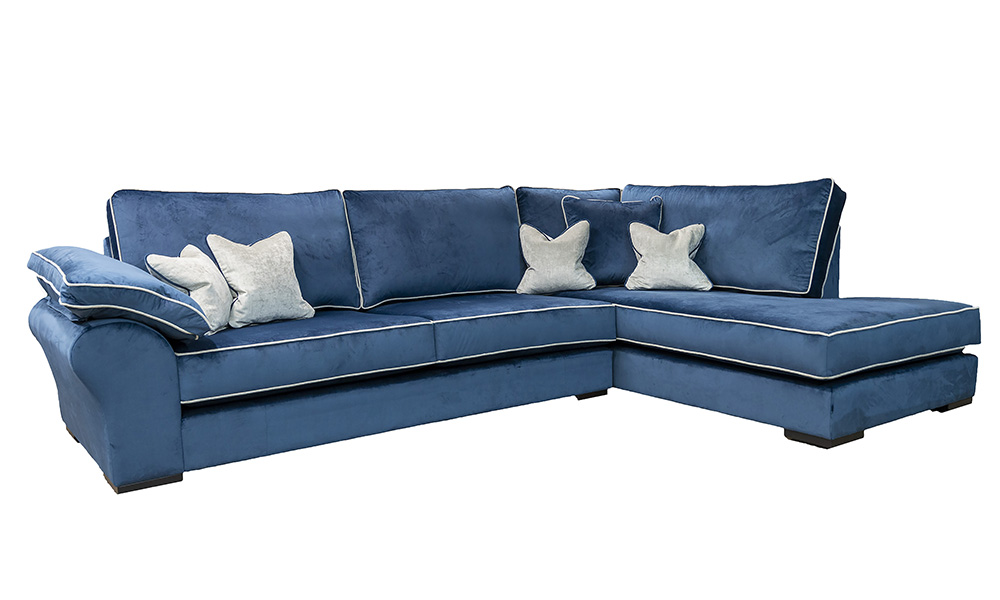 Atlas Chaise Sofa, Luxor Pacific, Silver Collection Fabric
