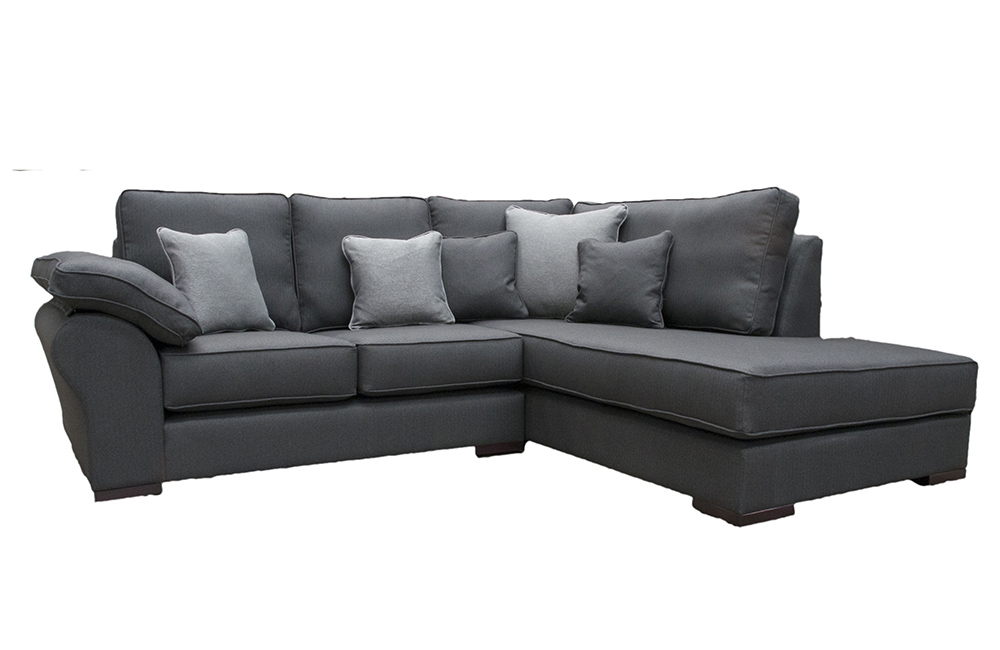 Atlas Chaise Sofa in Ross Dundee Ebony 13618, Silver Fabric Collection