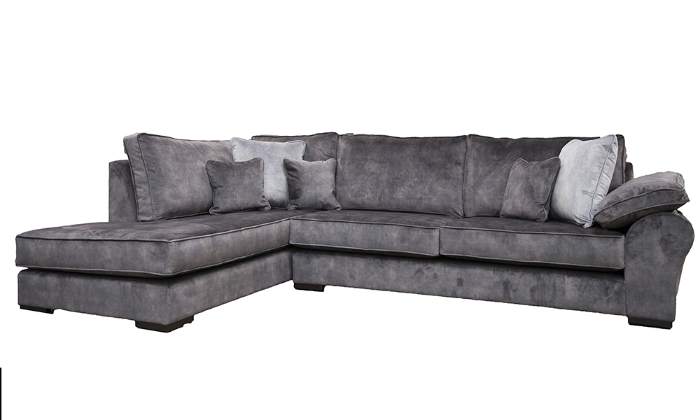 Atlas Chaise Sofa in Lovely Asphalt Gold Collection Fabric
