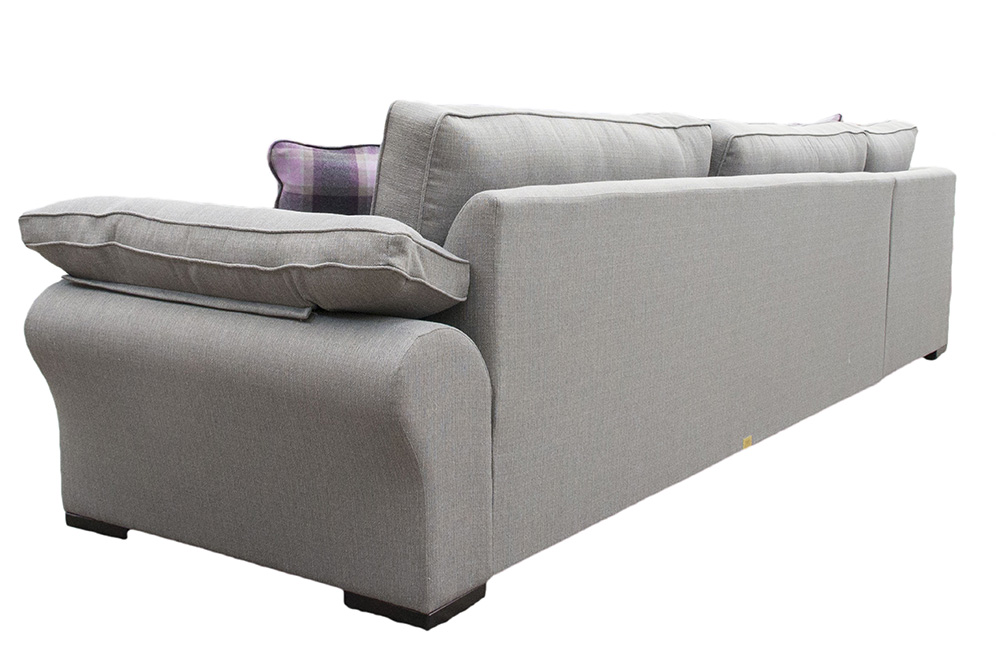 Bespoke Atlas 3 Seater in Corner Chaise Sofa  in  a Silver Fabric Collection